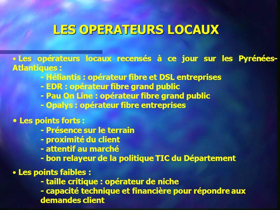 Les opérateurs locaux recensés à ce jour sur les Pyrénées- Atlantiques : - Héliantis : opérateur fibre et DSL entreprises - EDR : opérateur fibre gran