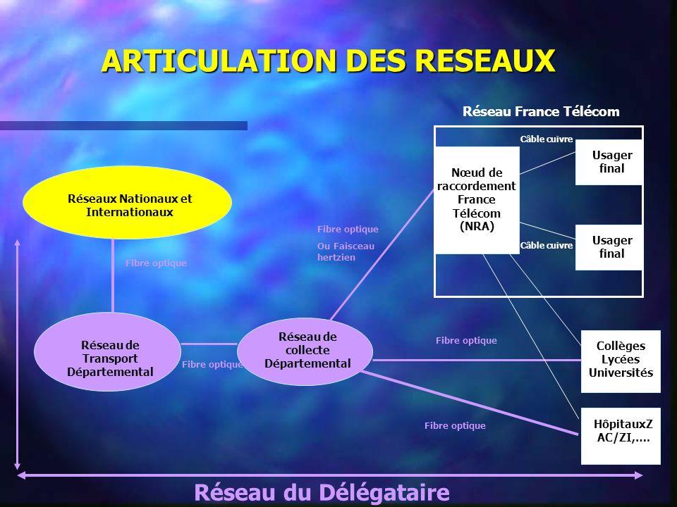 ARTICULATION DES RESEAUX Usager final Réseau de collecte Départemental Réseau de Transport Départemental Réseaux Nationaux et Internationaux Collèges Lycées Universités HôpitauxZ AC/ZI,….