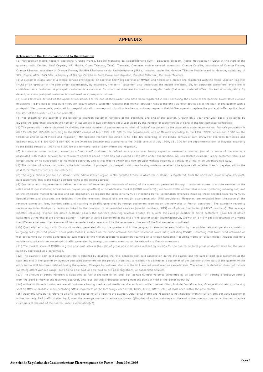 Autorité de Régulation des Communications Electroniques et des Postes – June 30th 2006 Page 7