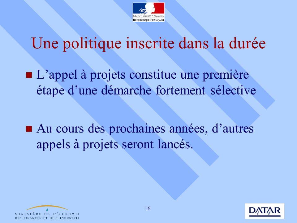 16 Une politique inscrite dans la durée Lappel à projets constitue une première étape dune démarche fortement sélective Au cours des prochaines années