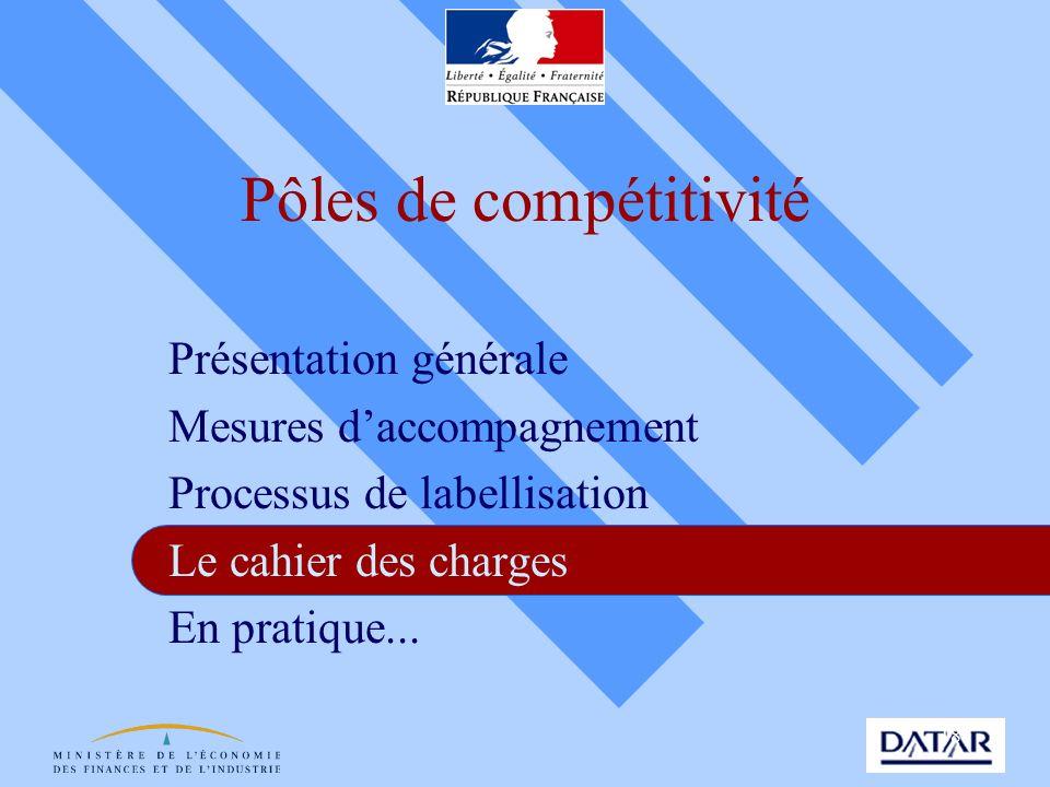18 Pôles de compétitivité Présentation générale Mesures daccompagnement Processus de labellisation Le cahier des charges En pratique...