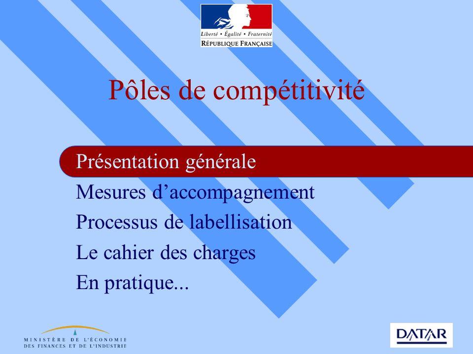2 Pôles de compétitivité Présentation générale Mesures daccompagnement Processus de labellisation Le cahier des charges En pratique...
