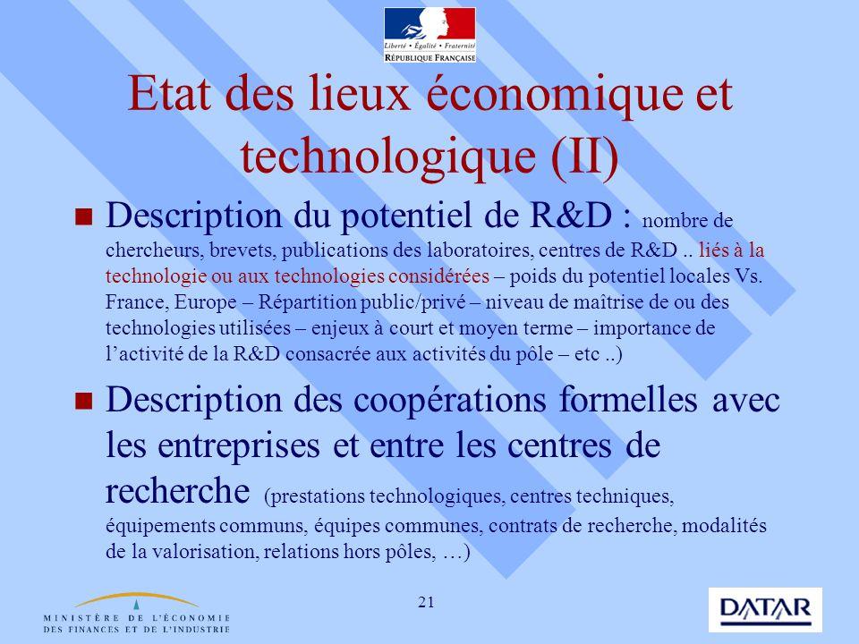 21 Etat des lieux économique et technologique (II) Description du potentiel de R&D : nombre de chercheurs, brevets, publications des laboratoires, cen