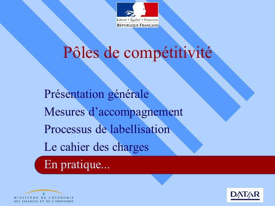 25 Pôles de compétitivité Présentation générale Mesures daccompagnement Processus de labellisation Le cahier des charges En pratique...