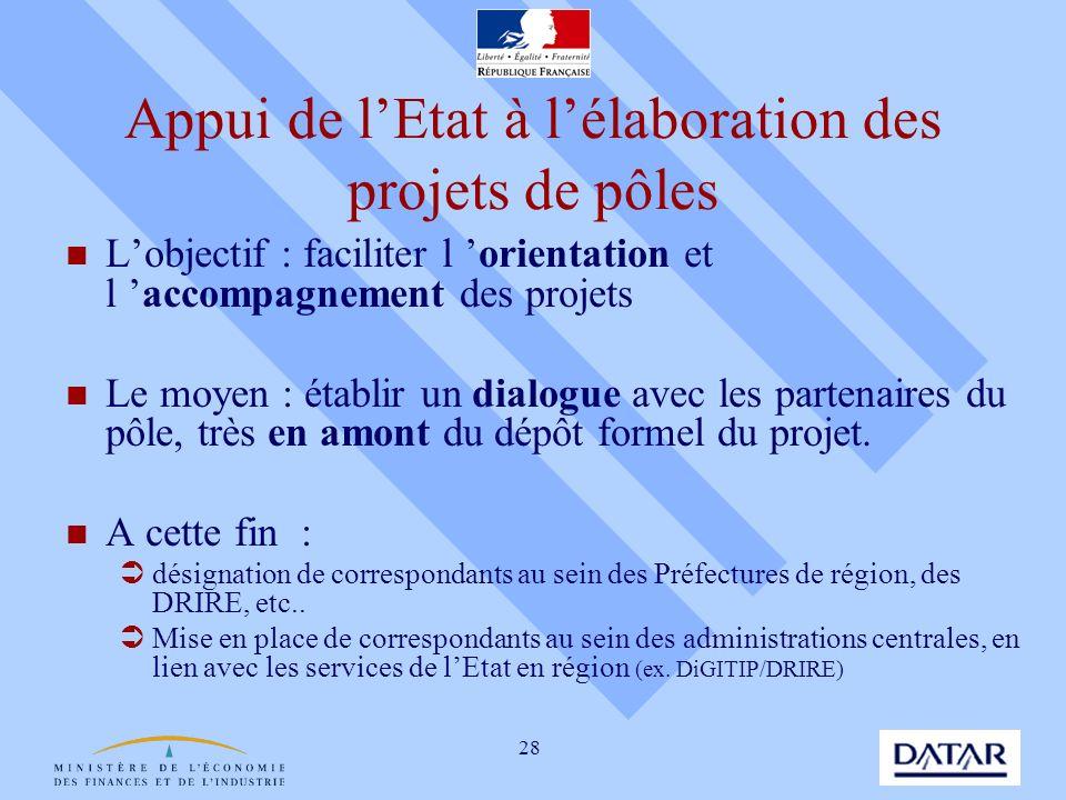 28 Appui de lEtat à lélaboration des projets de pôles Lobjectif : faciliter l orientation et l accompagnement des projets Le moyen : établir un dialog