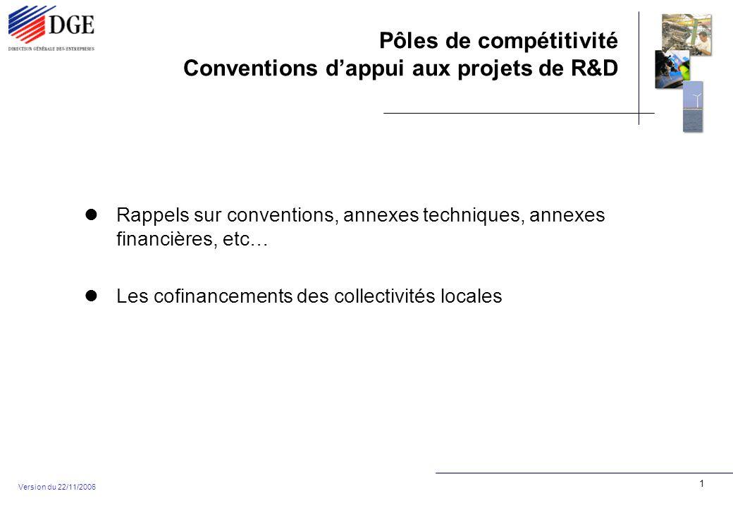 Pôles de compétitivité Conventions dappui aux projets de R&D Version du 22/11/2006 1 Rappels sur conventions, annexes techniques, annexes financières, etc… Les cofinancements des collectivités locales