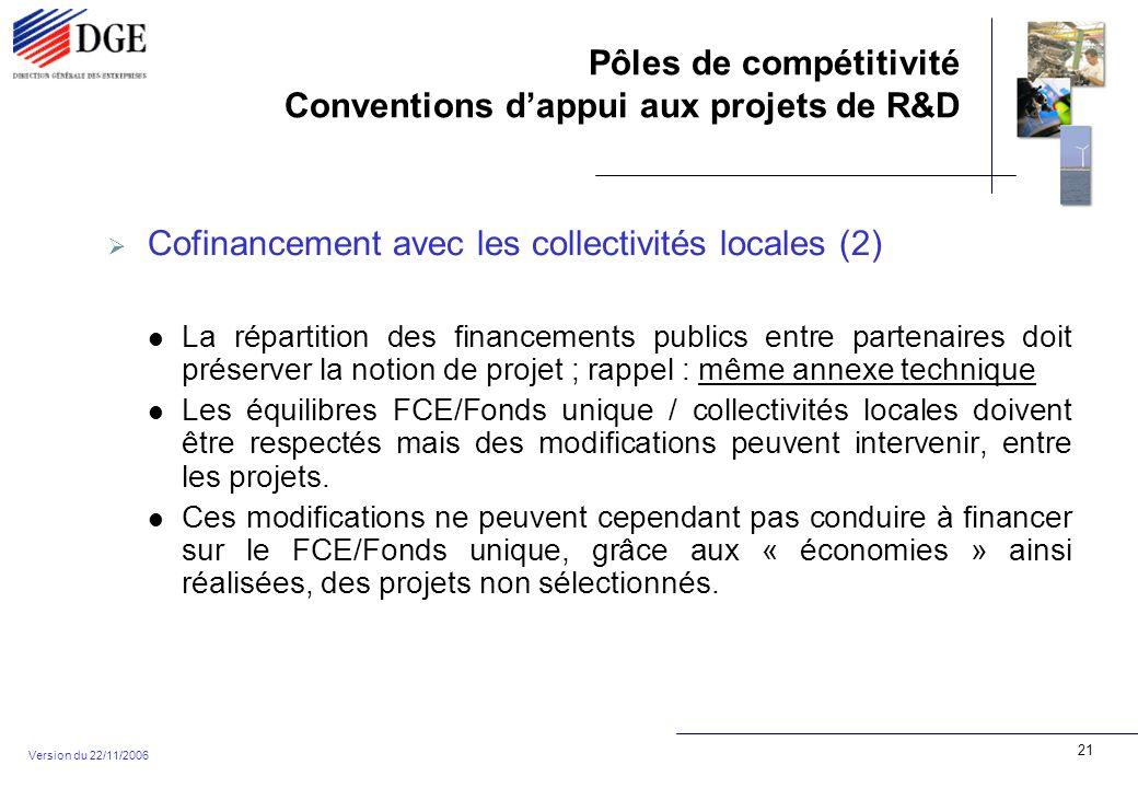 Pôles de compétitivité Conventions dappui aux projets de R&D Version du 22/11/2006 21 Cofinancement avec les collectivités locales (2) La répartition des financements publics entre partenaires doit préserver la notion de projet ; rappel : même annexe technique Les équilibres FCE/Fonds unique / collectivités locales doivent être respectés mais des modifications peuvent intervenir, entre les projets.
