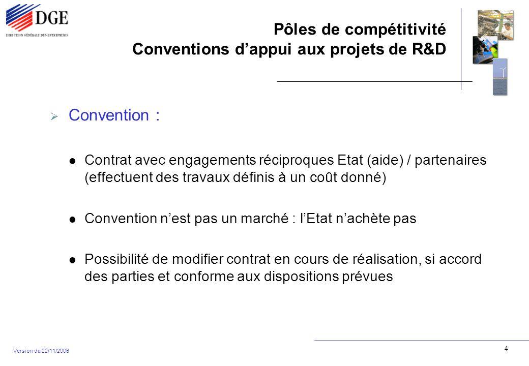 Pôles de compétitivité Conventions dappui aux projets de R&D Version du 22/11/2006 5 Projet : Un projet = n partenaires (au moins 2 entreprises + au moins un laboratoire public) réalisant un programme commun de travaux de R&D Un projet = des résultats partagés entre les partenaires Un projet = une aide pour chaque partenaire Un partenaire = des responsabilités particulières, des coûts particuliers