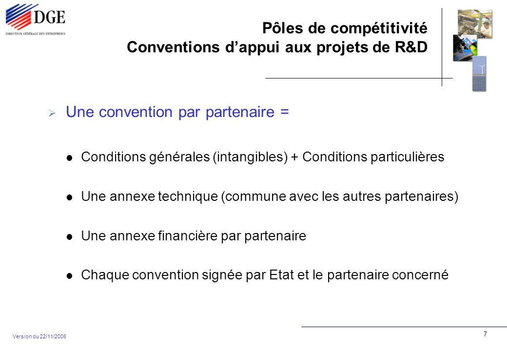 Pôles de compétitivité Conventions dappui aux projets de R&D Version du 22/11/2006 7 Une convention par partenaire = Conditions générales (intangibles) + Conditions particulières Une annexe technique (commune avec les autres partenaires) Une annexe financière par partenaire Chaque convention signée par Etat et le partenaire concerné