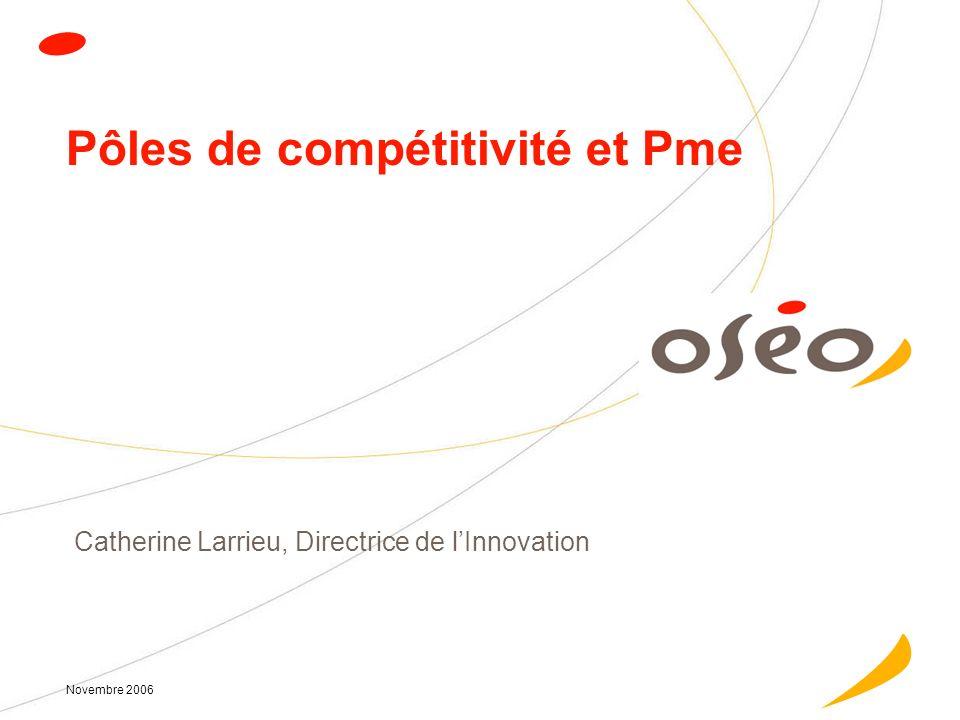 Novembre 2006 Pôles de compétitivité et Pme Catherine Larrieu, Directrice de lInnovation