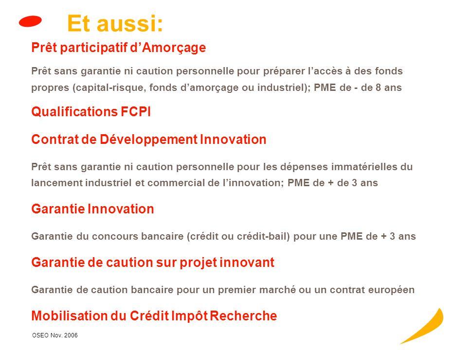 OSEO Nov. 2006 Aide à linnovation Recrutement Objectif: renforcer le potentiel de recherche-développement des PME Bénéficiaires: PME (au sens OSEO anv