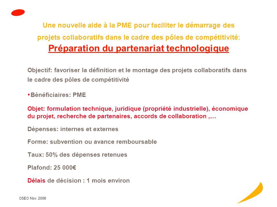 OSEO Nov. 2006 A ccompagnement et financement des projets innovants Commercial & marketing Technique Juridique & PI Management & organisation Financie
