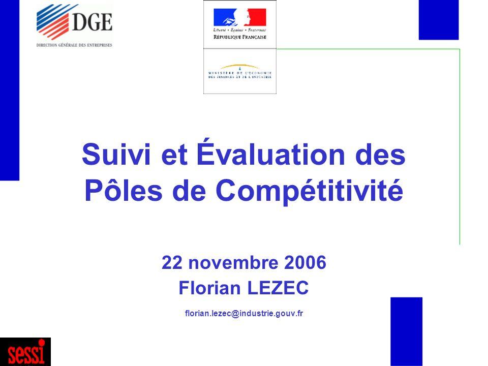 Suivi et Évaluation des Pôles de Compétitivité 22 novembre 2006 Florian LEZEC florian.lezec@industrie.gouv.fr