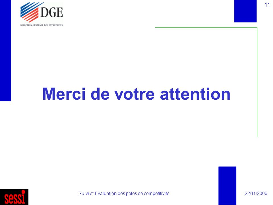 22/11/2006Suivi et Evaluation des pôles de compétitivité 11 Merci de votre attention