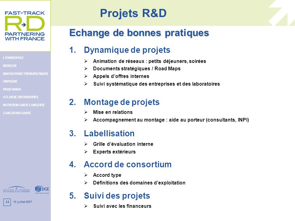 10 juillet 2007 LYONBIOPOLE MEDICEN INNOVATIONS THERAPEUTIQUES ORPHEME PRODINNOV ATLANTIC BIOTHERAPIES NUTRITION SANTE LONGEVITE CANCER BIO-SANTE 11 P
