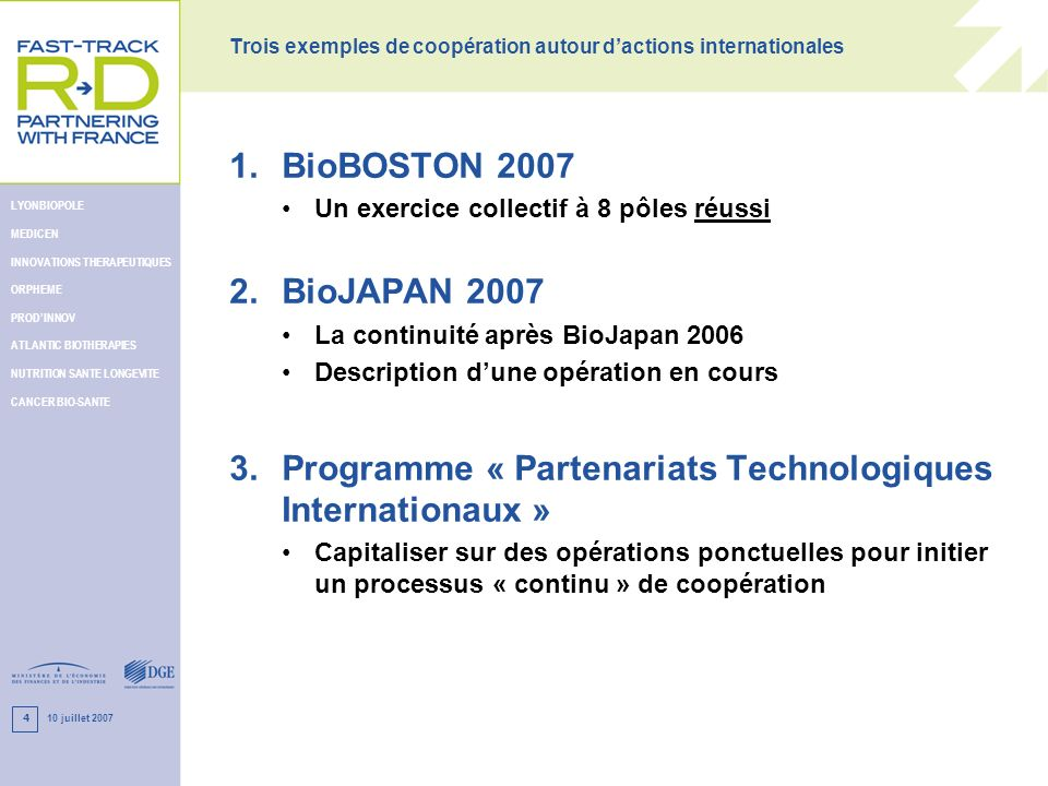 10 juillet 2007 LYONBIOPOLE MEDICEN INNOVATIONS THERAPEUTIQUES ORPHEME PRODINNOV ATLANTIC BIOTHERAPIES NUTRITION SANTE LONGEVITE CANCER BIO-SANTE 4 Tr