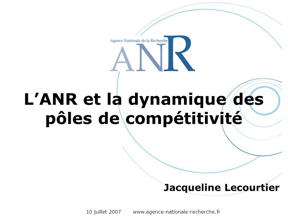 10 juillet 2007 www.agence-nationale-recherche.fr LANR et la dynamique des pôles de compétitivité Jacqueline Lecourtier
