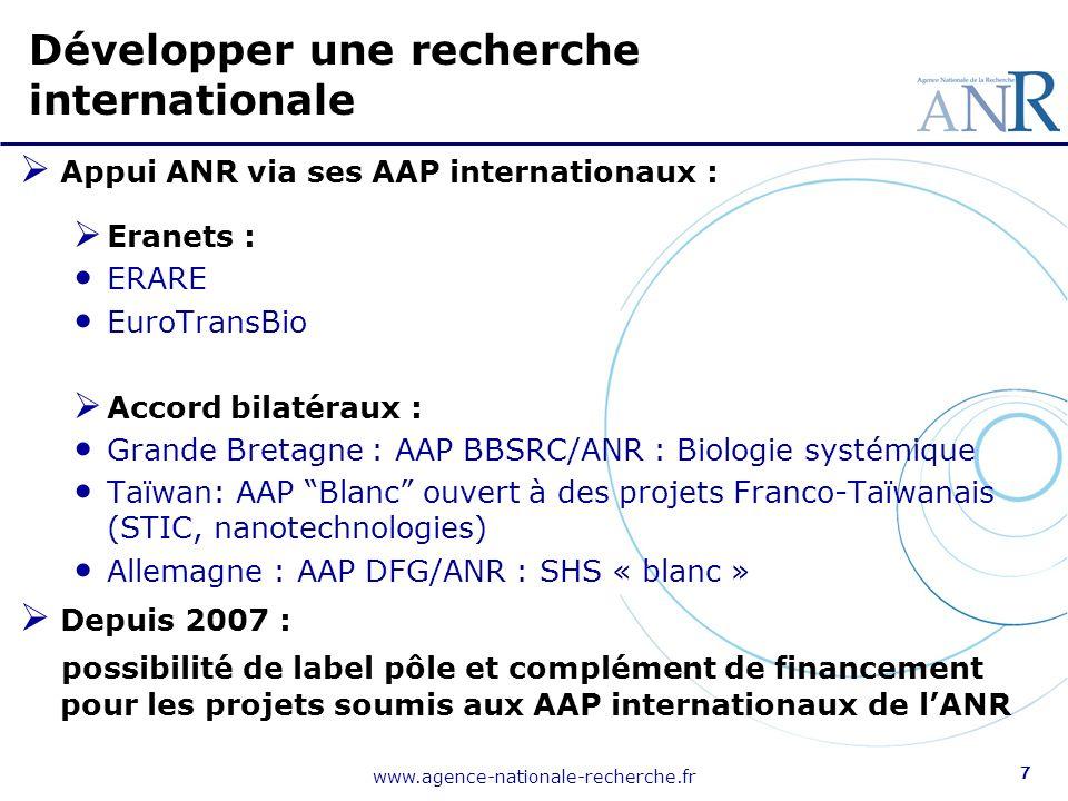 www.agence-nationale-recherche.fr 7 Appui ANR via ses AAP internationaux : Eranets : ERARE EuroTransBio Accord bilatéraux : Grande Bretagne : AAP BBSRC/ANR : Biologie systémique Taïwan: AAP Blanc ouvert à des projets Franco-Taïwanais (STIC, nanotechnologies) Allemagne : AAP DFG/ANR : SHS « blanc » Depuis 2007 : possibilité de label pôle et complément de financement pour les projets soumis aux AAP internationaux de lANR Développer une recherche internationale