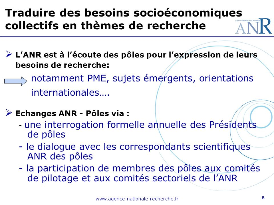 www.agence-nationale-recherche.fr 8 LANR est à lécoute des pôles pour lexpression de leurs besoins de recherche: notamment PME, sujets émergents, orientations internationales….