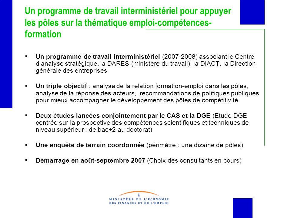 Un programme de travail interministériel pour appuyer les pôles sur la thématique emploi-compétences- formation Un programme de travail interministéri