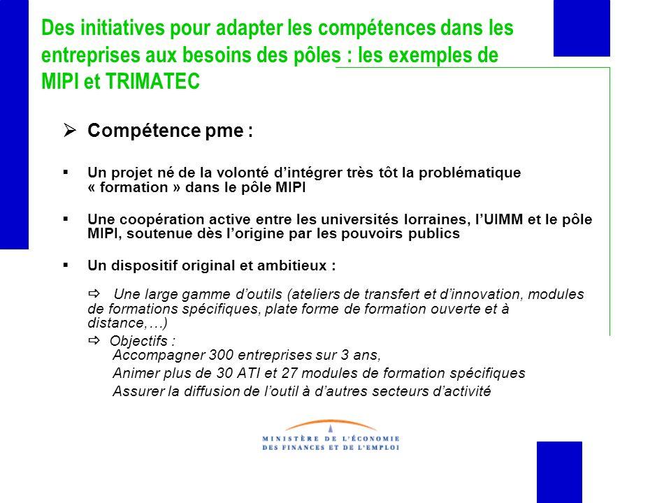 Des initiatives pour adapter les compétences dans les entreprises aux besoins des pôles : les exemples de MIPI et TRIMATEC Compétence pme : Un projet