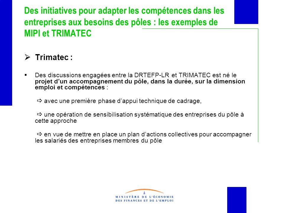 Des initiatives pour adapter les compétences dans les entreprises aux besoins des pôles : les exemples de MIPI et TRIMATEC Trimatec : Des discussions