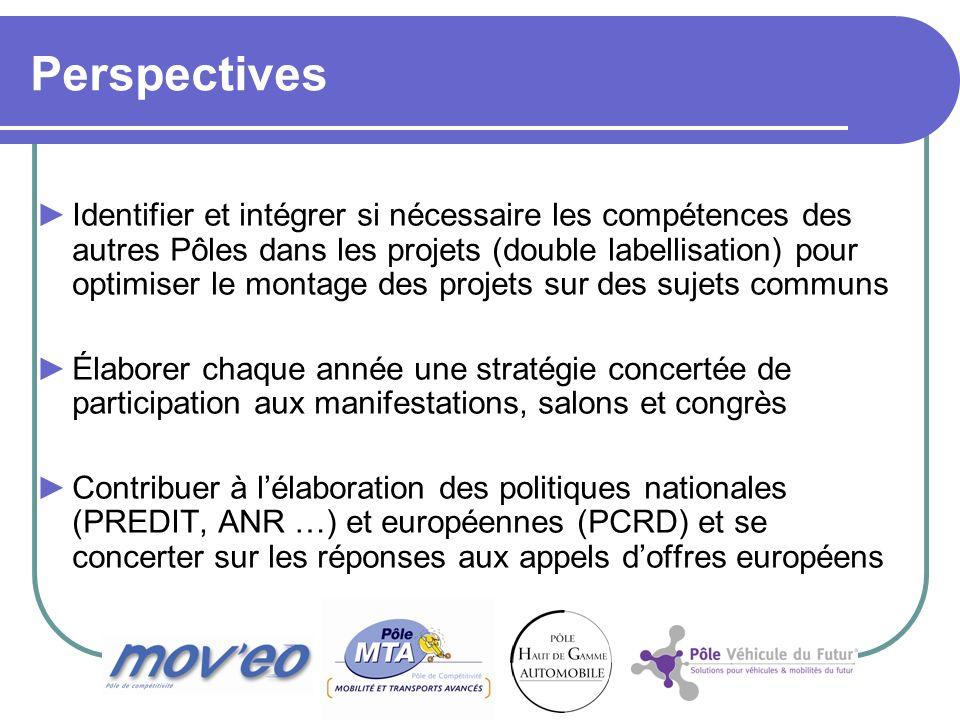 Perspectives Identifier et intégrer si nécessaire les compétences des autres Pôles dans les projets (double labellisation) pour optimiser le montage d