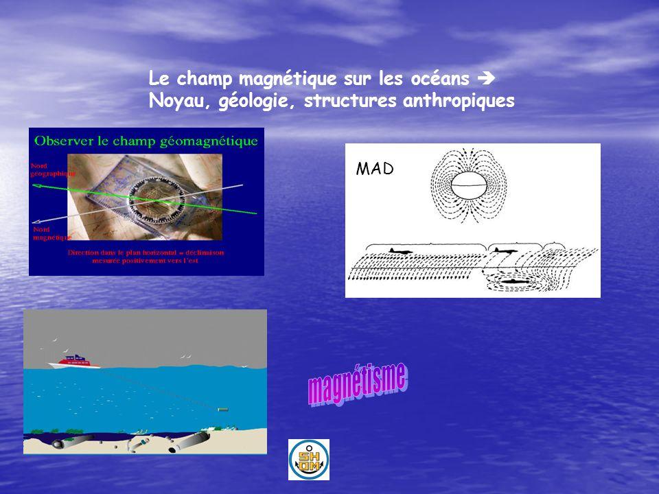 Le champ magnétique sur les océans Noyau, géologie, structures anthropiques MAD