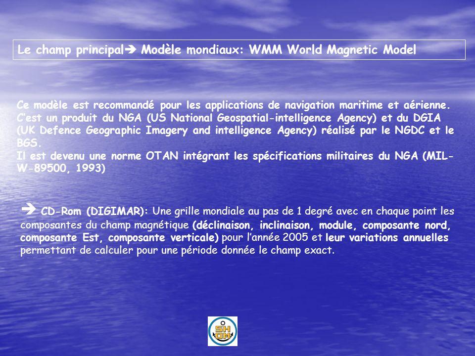 Le champ principal Modèle mondiaux: WMM World Magnetic Model Ce modèle est recommandé pour les applications de navigation maritime et aérienne. Cest u