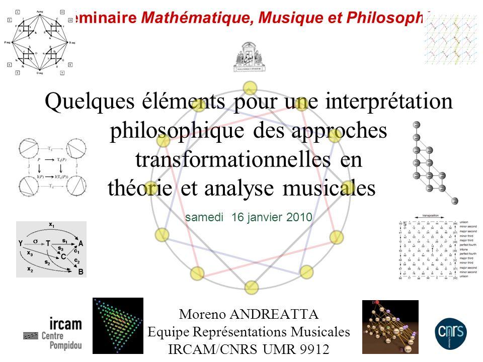 Séminaire Mathématique, Musique et Philosophie Quelques éléments pour une interprétation philosophique des approches transformationnelles en théorie e
