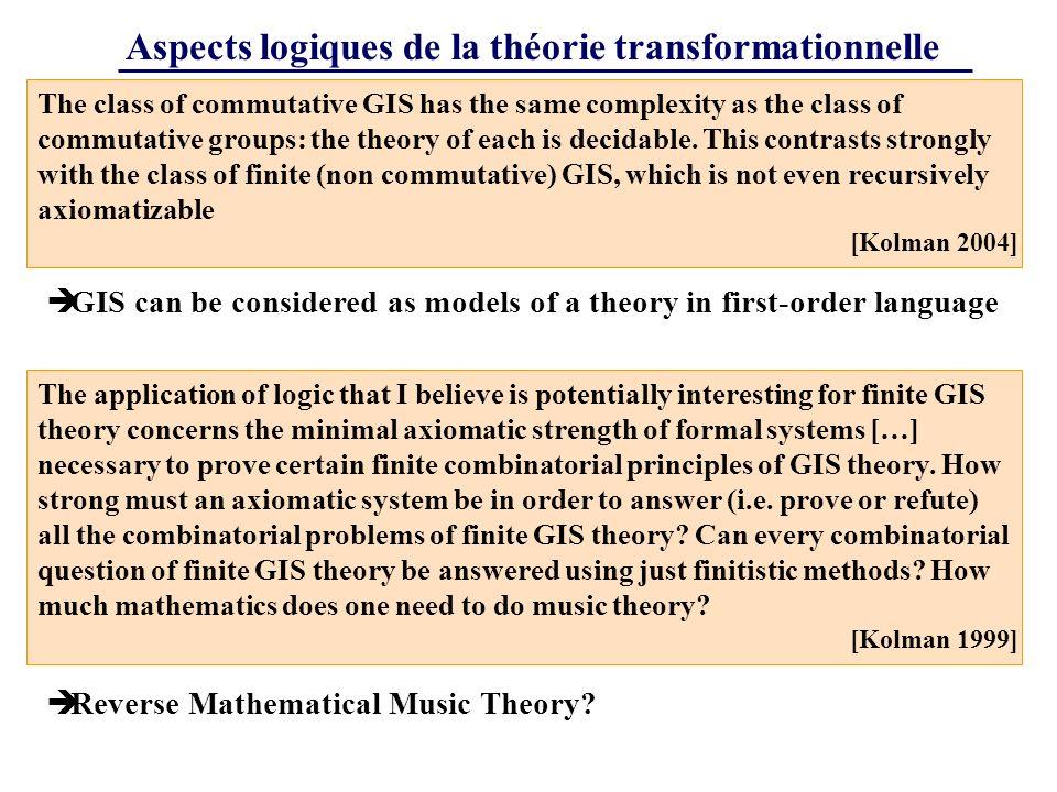 Aspects logiques de la théorie transformationnelle The class of commutative GIS has the same complexity as the class of commutative groups: the theory of each is decidable.