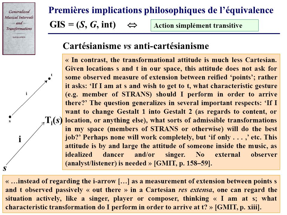Premières implications philosophiques de léquivalence GIS = (S, G, int) « In contrast, the transformational attitude is much less Cartesian. Given loc