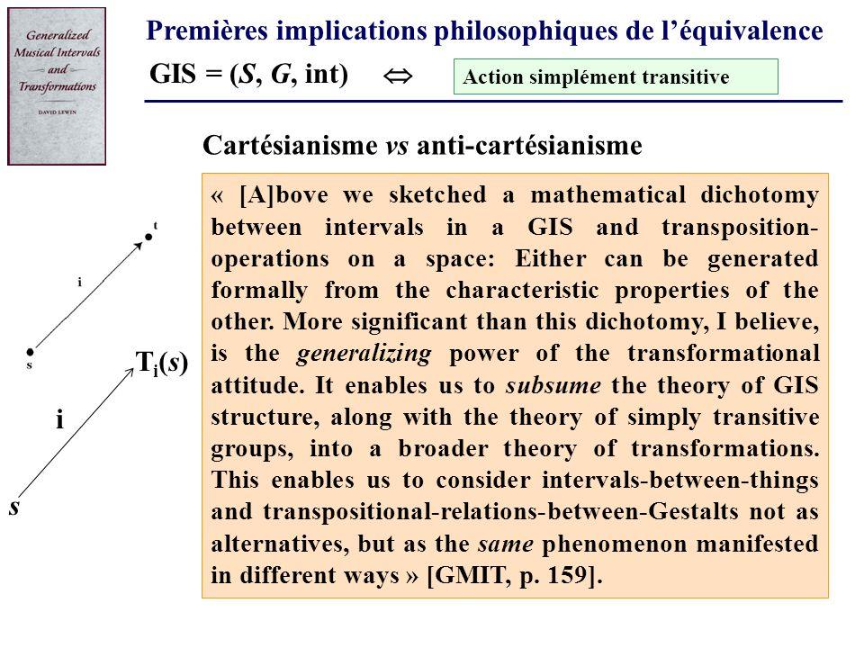 Premières implications philosophiques de léquivalence GIS = (S, G, int) Action simplément transitive « [A]bove we sketched a mathematical dichotomy be