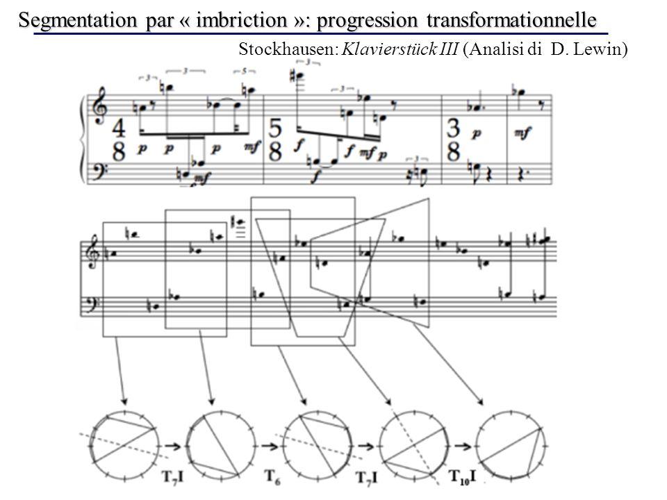 Segmentation par « imbriction »: progression transformationnelle Stockhausen: Klavierstück III (Analisi di D. Lewin)
