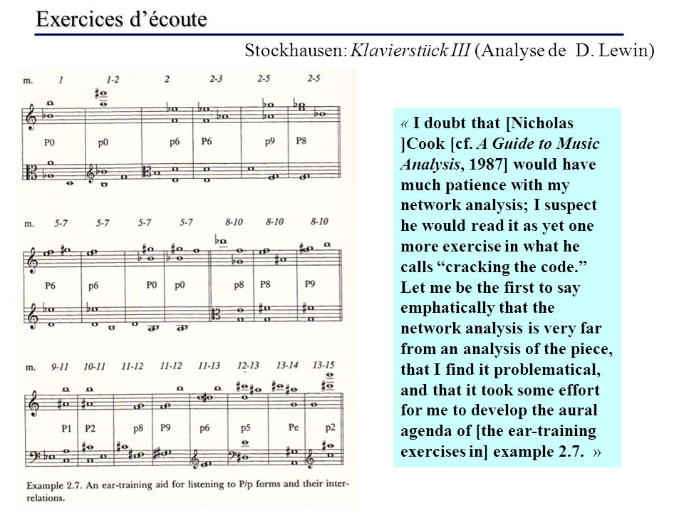 Exercices découte Stockhausen: Klavierstück III (Analyse de D. Lewin) « I doubt that [Nicholas ]Cook [cf. A Guide to Music Analysis, 1987] would have