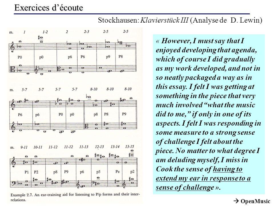 Exercices découte Stockhausen: Klavierstück III (Analyse de D.