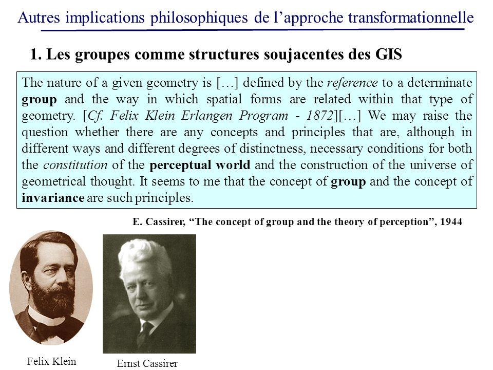 Autres implications philosophiques de lapproche transformationnelle Felix Klein Ernst Cassirer 1. Les groupes comme structures soujacentes des GIS The