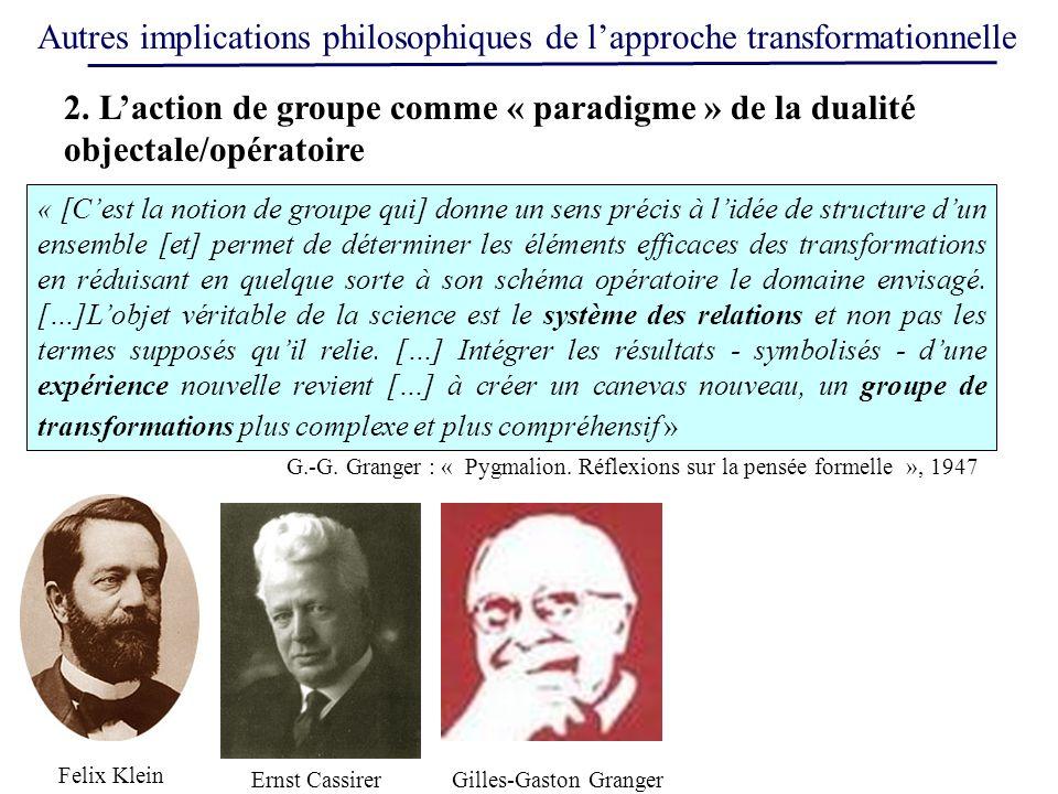 Autres implications philosophiques de lapproche transformationnelle « [Cest la notion de groupe qui] donne un sens précis à lidée de structure dun ens