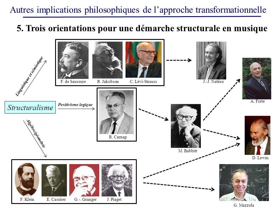 Autres implications philosophiques de lapproche transformationnelle Structuralisme 5. Trois orientations pour une démarche structurale en musique F. d