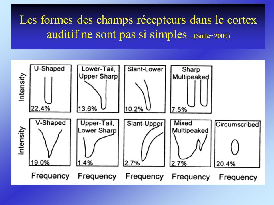 Les formes des champs récepteurs dans le cortex auditif ne sont pas si simples …(Sutter 2000)