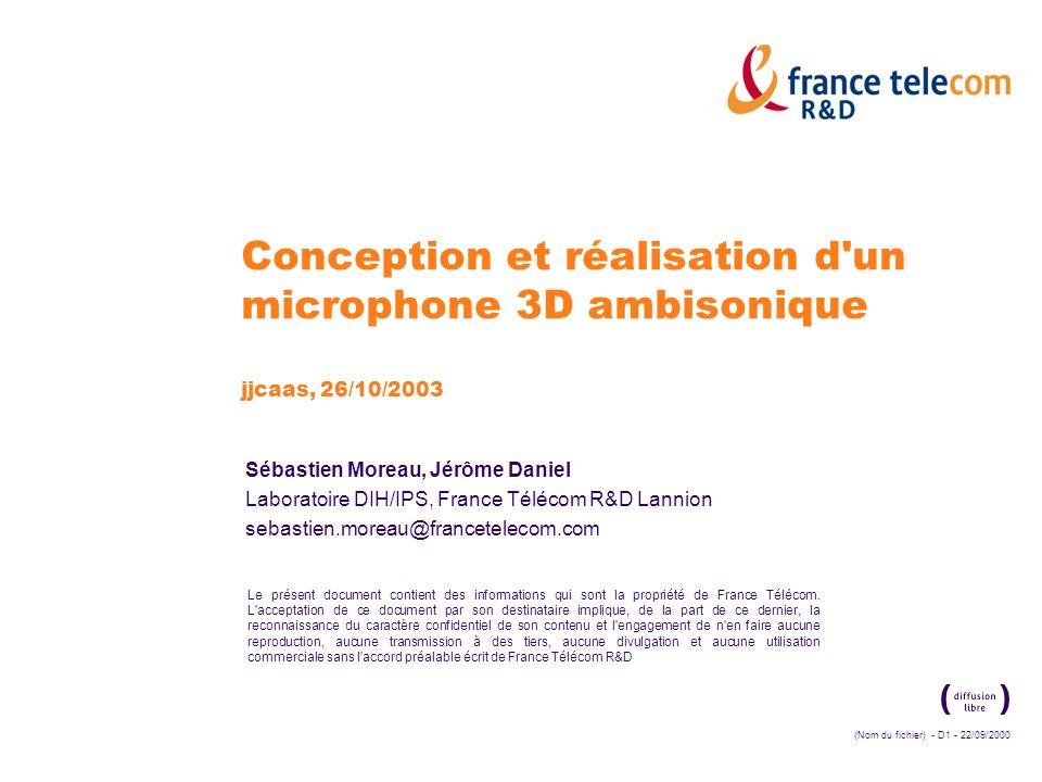 (Nom du fichier) - D1 - 22/09/2000 Le présent document contient des informations qui sont la propriété de France Télécom. L'acceptation de ce document