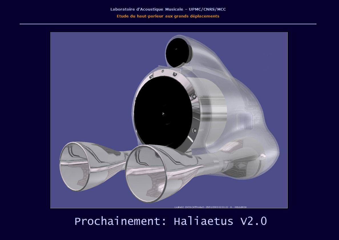 Laboratoire dAcoustique Musicale – UPMC/CNRS/MCC Etude du haut-parleur aux grands déplacements Prochainement: Haliaetus V2.0