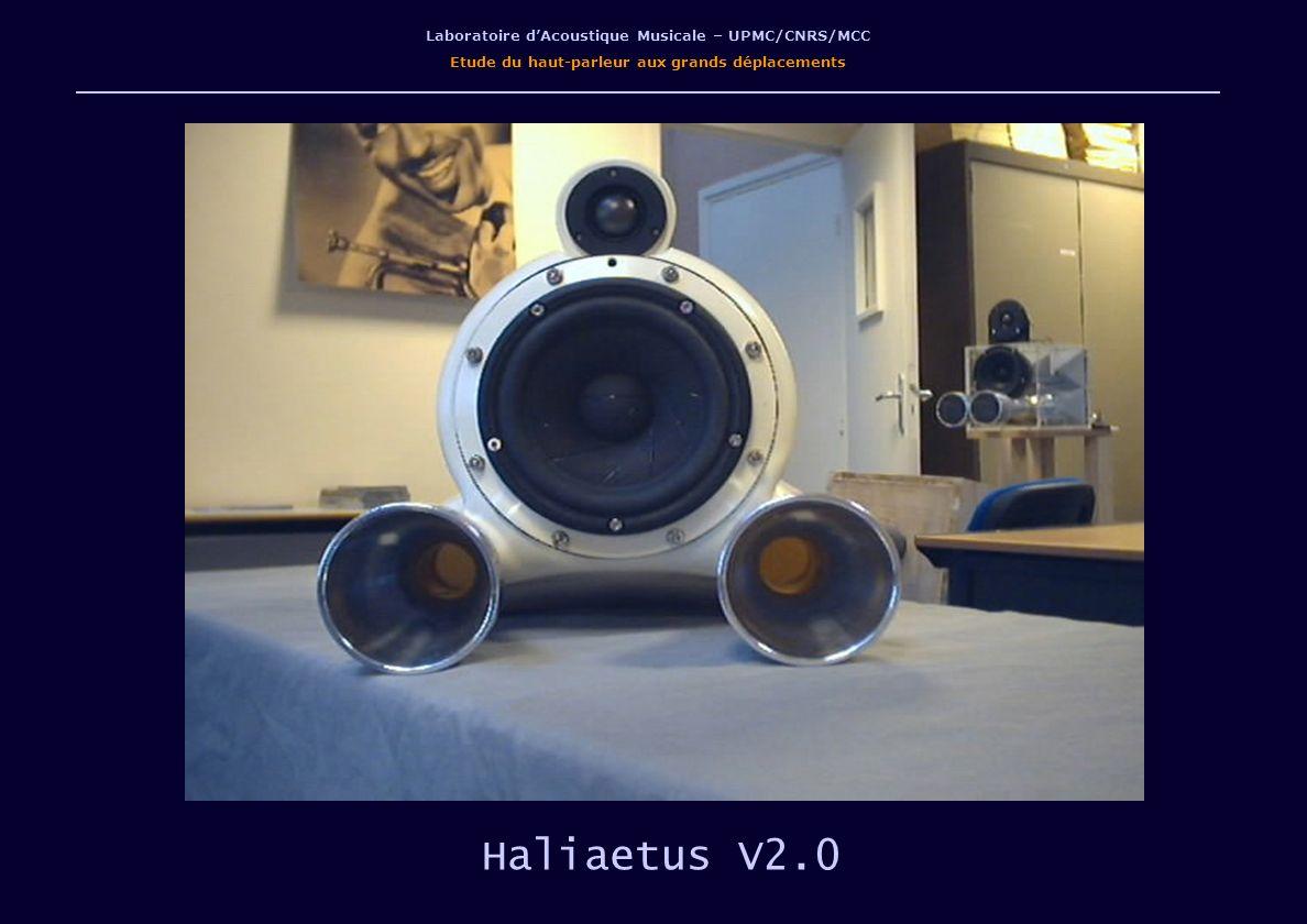 Laboratoire dAcoustique Musicale – UPMC/CNRS/MCC Etude du haut-parleur aux grands déplacements Haliaetus V2.0