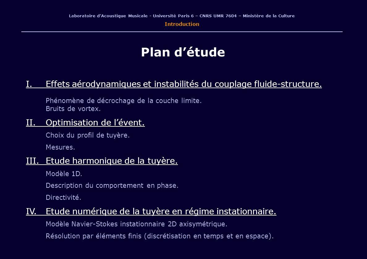 Laboratoire dAcoustique Musicale - Université Paris 6 – CNRS UMR 7604 – Ministère de la Culture Introduction Plan détude I.Effets aérodynamiques et instabilités du couplage fluide-structure.