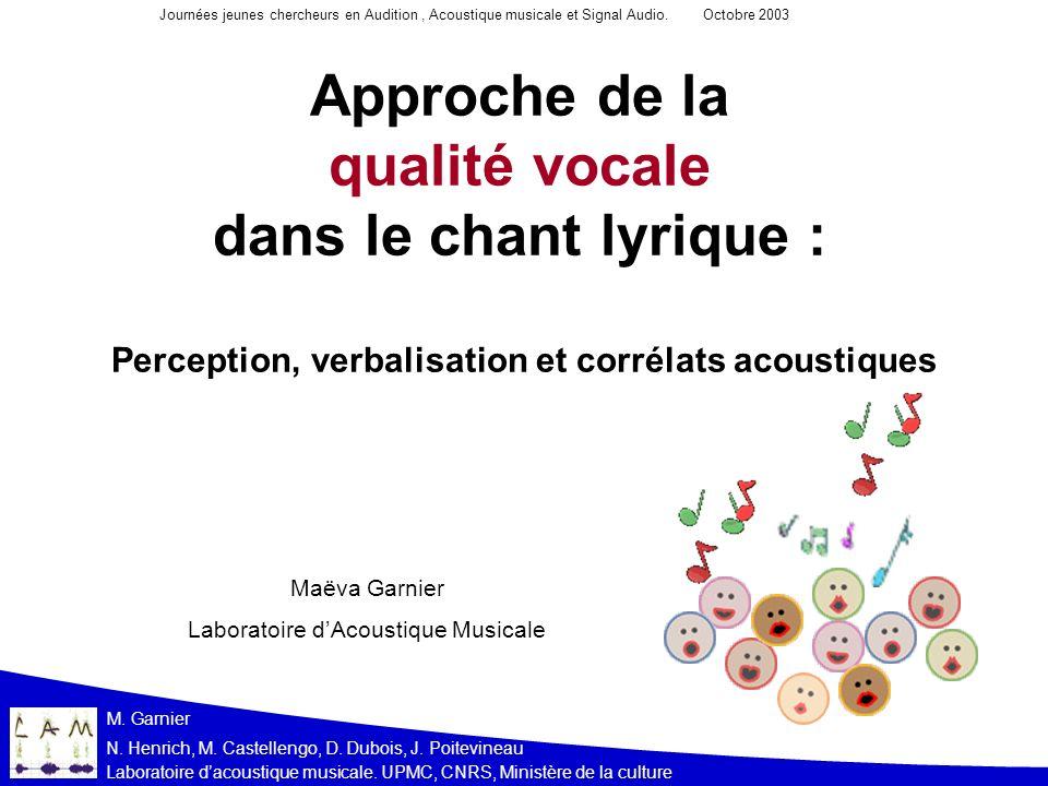 Laboratoire dacoustique musicale. UPMC, CNRS, Ministère de la culture N. Henrich, M. Castellengo, D. Dubois, J. Poitevineau M. Garnier Approche de la