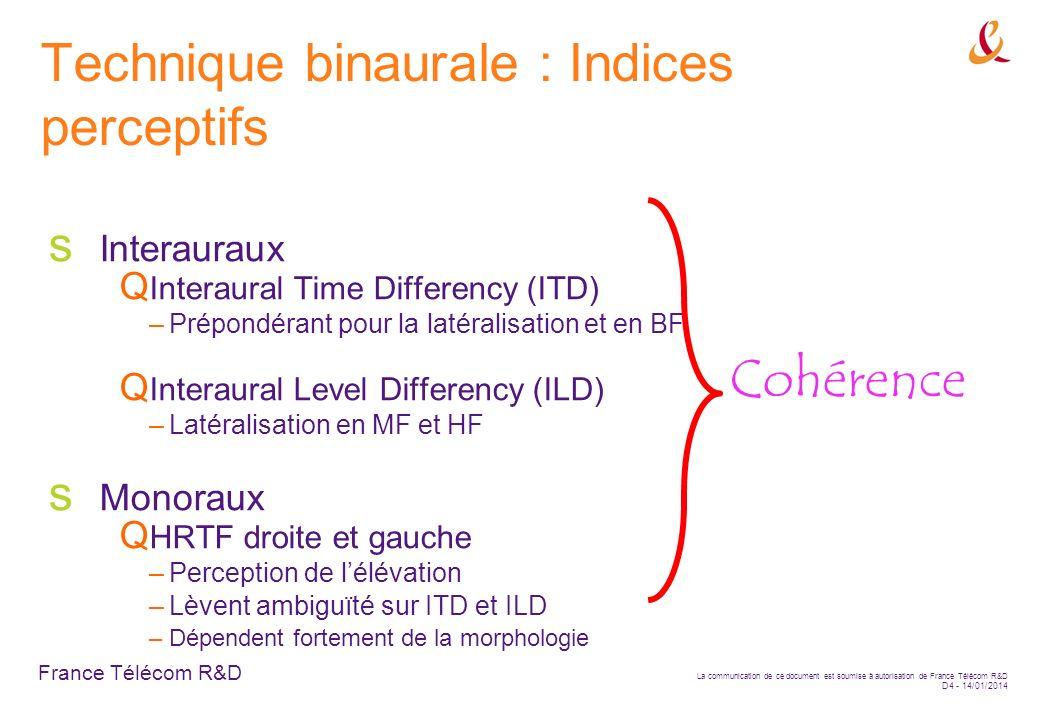 France Télécom R&D La communication de ce document est soumise à autorisation de France Télécom R&D D4 - 14/01/2014 Technique binaurale : Indices perc