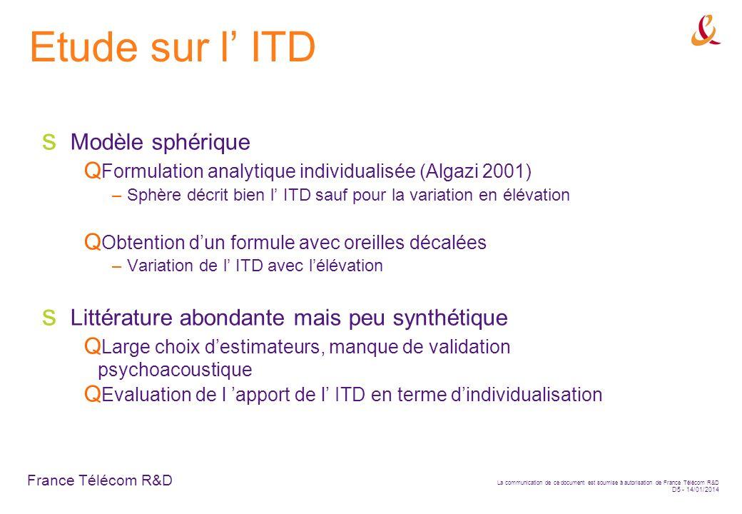 France Télécom R&D La communication de ce document est soumise à autorisation de France Télécom R&D D5 - 14/01/2014 Etude sur l ITD Modèle sphérique F