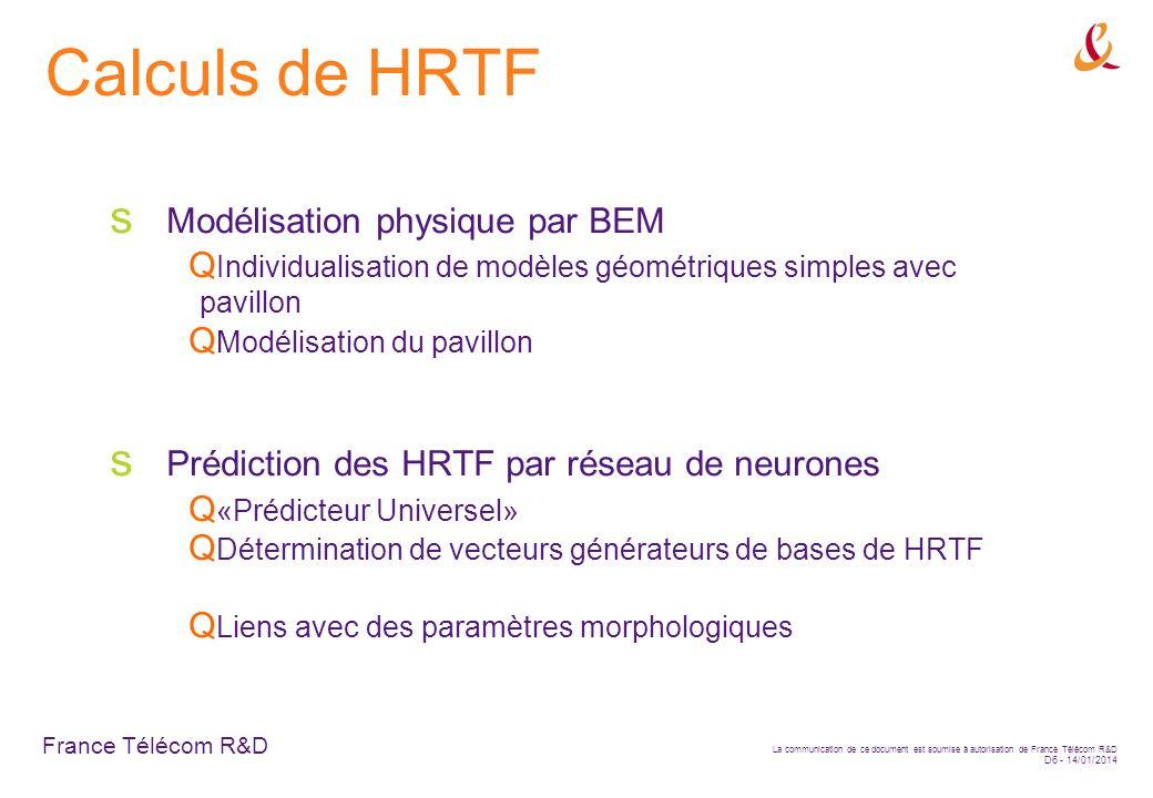 France Télécom R&D La communication de ce document est soumise à autorisation de France Télécom R&D D6 - 14/01/2014 Calculs de HRTF Modélisation physi