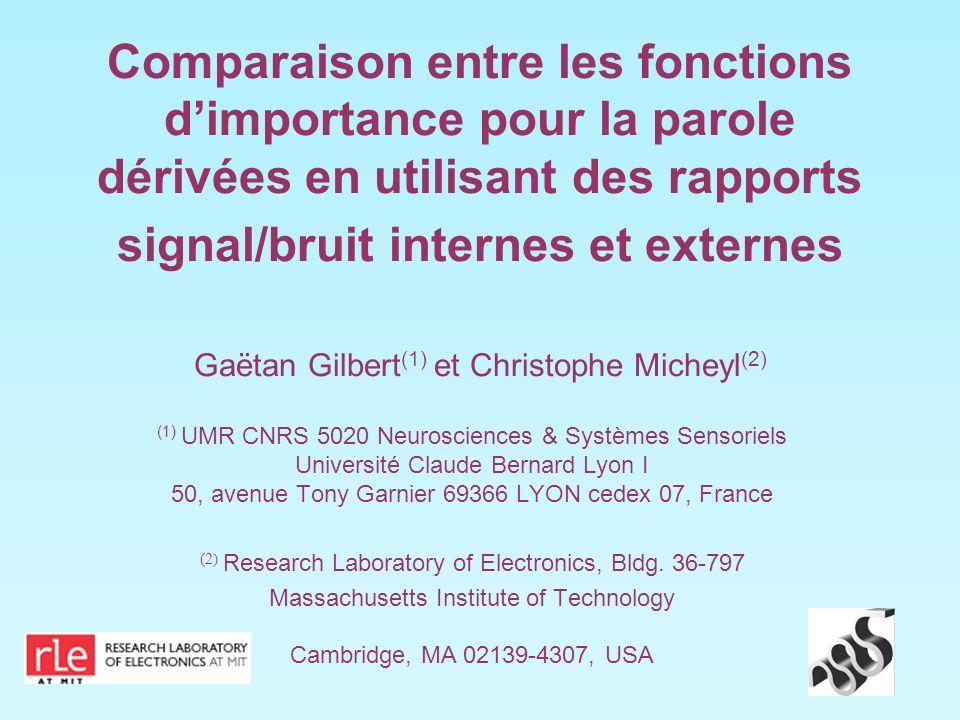 Comparaison entre les fonctions dimportance pour la parole dérivées en utilisant des rapports signal/bruit internes et externes Gaëtan Gilbert (1) et