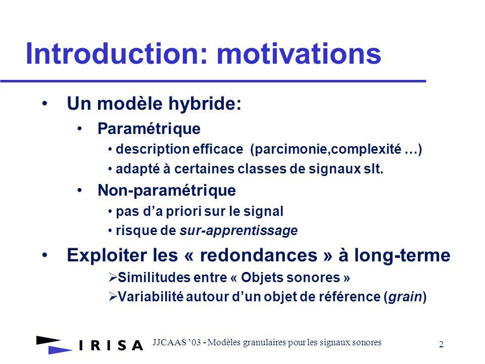JJCAAS 03 - Modèles granulaires pour les signaux sonores 1 Modèles granulaires pour les signaux sonores Lorcan Mc Donagh Directeur de thèse: Frédéric Bimbot Co-encadrant: Rémi Gribonval Equipe METISS- IRISA/INRIA